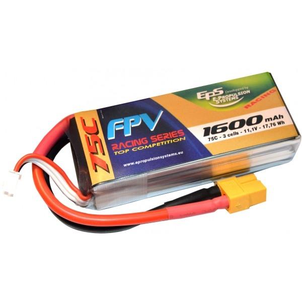 Batterie Lipo 3s EPS 1600 mAh 75C pour le FPV racing