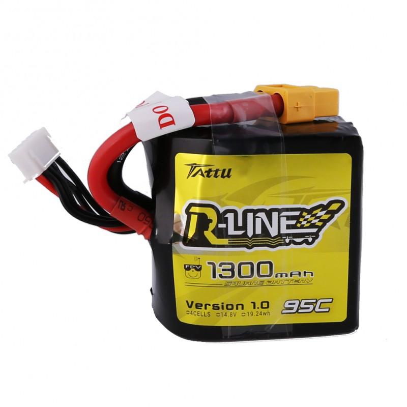 La batterie lipo 4S 1300 mAh Tattu possède une forme carrée offrant une meilleure répartition des masses