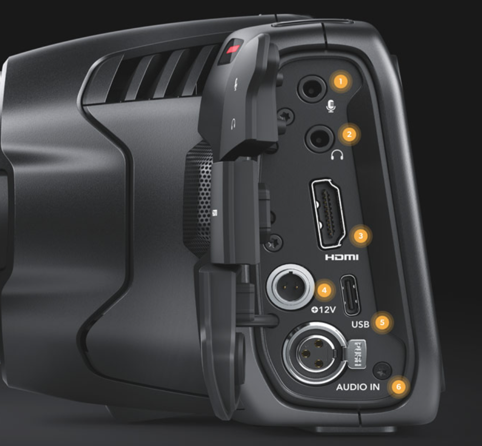 Connectiques de la Blackmagic Pocket Cinema Camera 6K