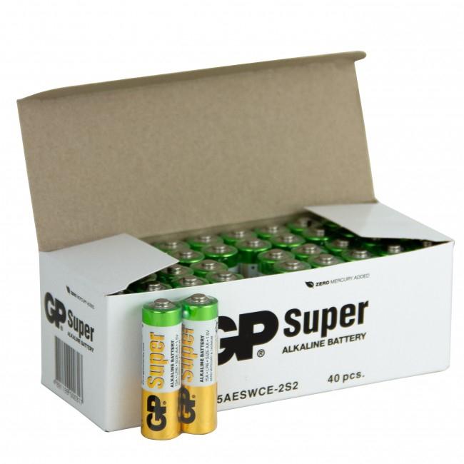 Boîte de 40 piles super Alkaline AA - GP
