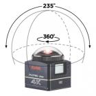 Champ de vision ultra grand-angle 235° et lentille sphérique 360°