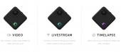 La caméra Drift Compass offre 4 modes de prises de vue : Vidéo, Photo, Timelapse et Livestreaming