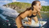Surfeuse en action avec informations télémétriques sur la capture