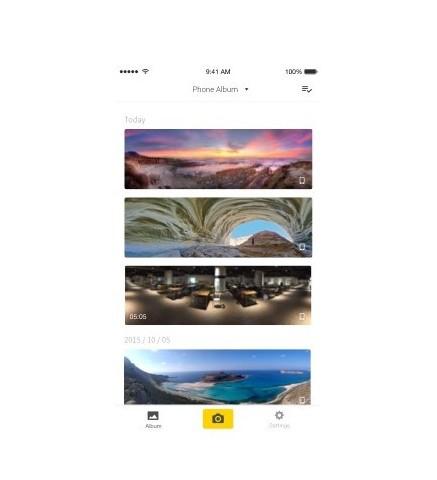 Vue de l'application smartphone de la caméra Insta360 Nano pour Iphones