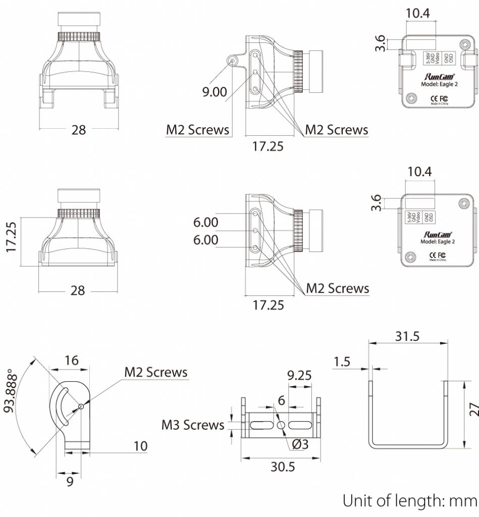 Caméra RunCam Eagle 2 - plans et dimensions