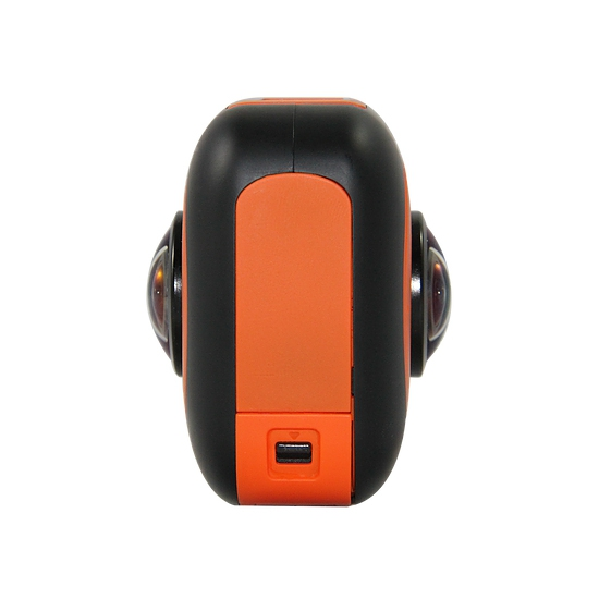 La caméra VR360 dispose de deux objectifs offrant un champ de vision horizontal à 360° et vertical à 220°