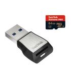 Carte microSDXC SanDisk Extreme Pro 64 Go + lecteur 3.0