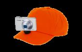 Casquette vidéo-cap orange pour caméra embarquée