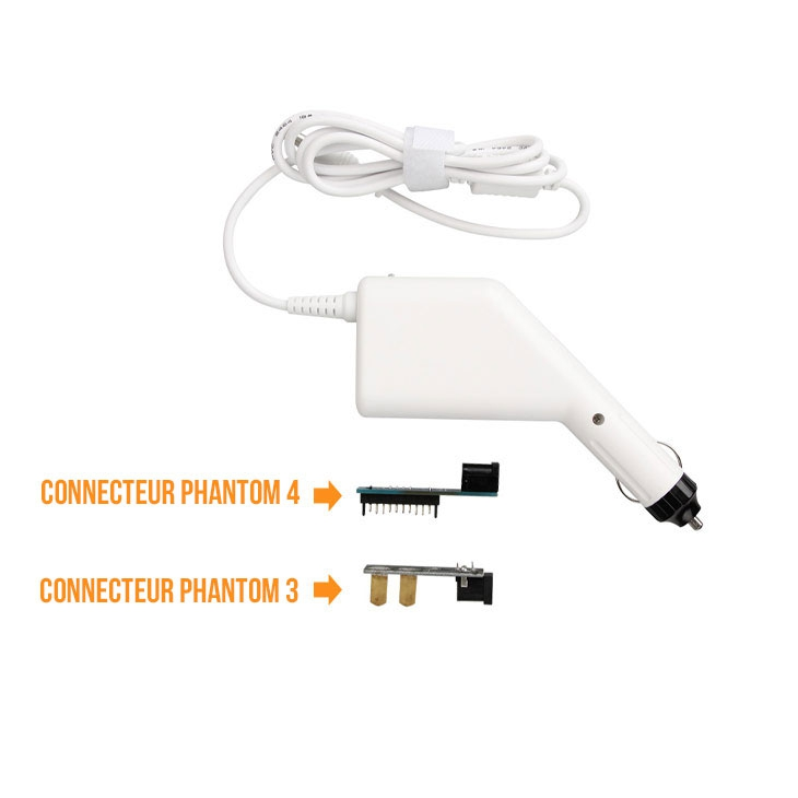 Chargeur allume-cigare et les deux connecteurs pour batterie Phantom 3 ou Phantom 4