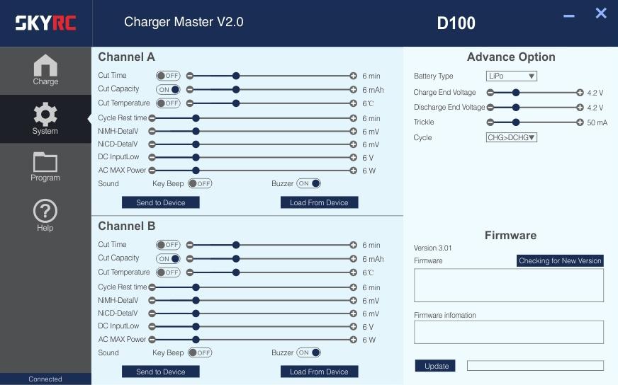 Afin de couvrir tous vos besoins, vous aurez accès à de nombreux paramètres via le logiciel gratuit Charge Master.