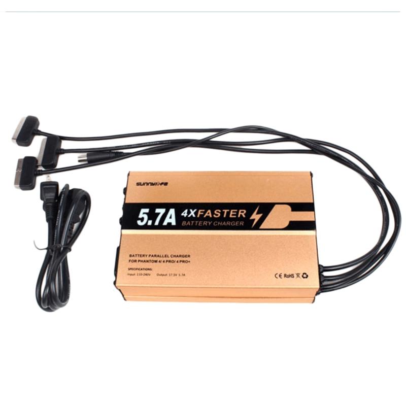 Le chargeur offre un courant de sortie de 5.7A pour charger rapidement les batteries de DJI Phantom 4, Phantom 4 Pro et Pro+