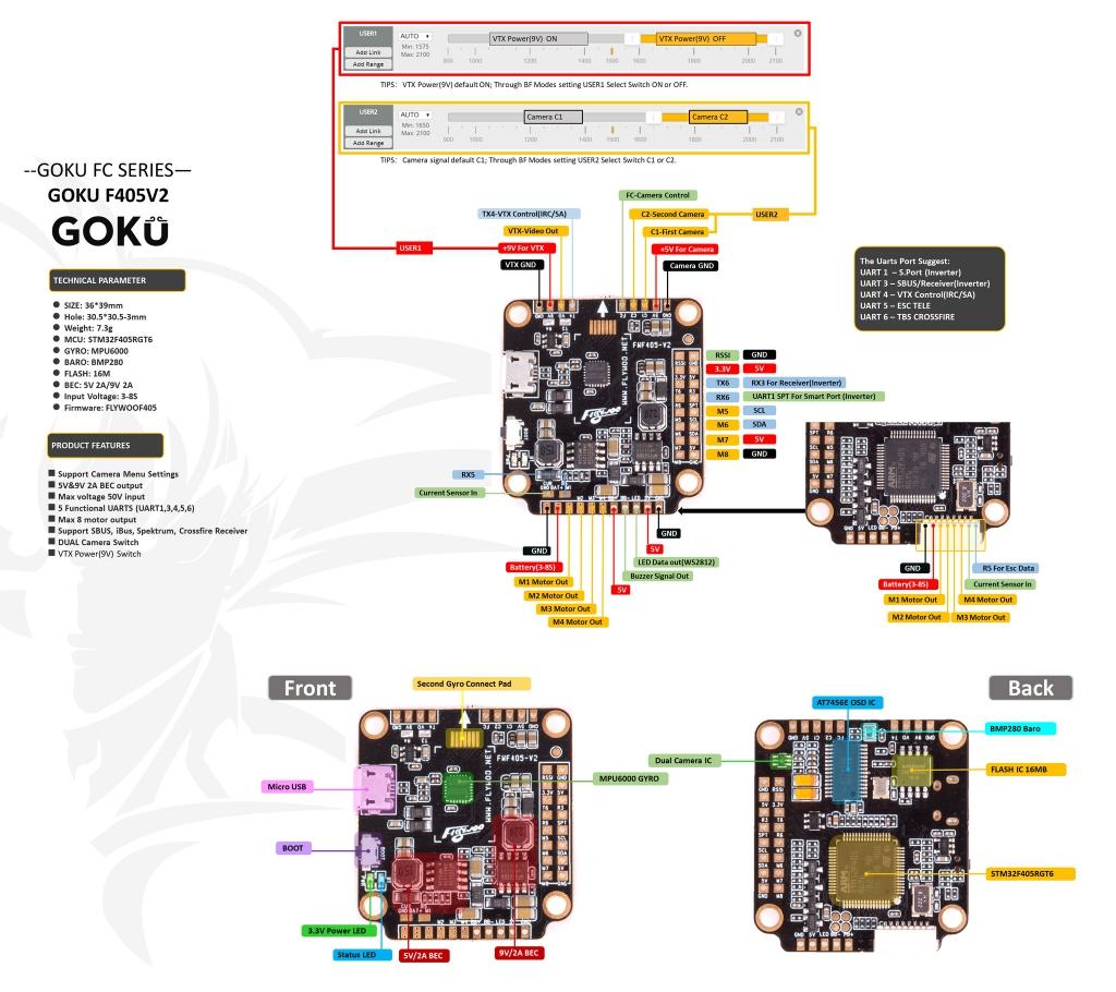 Contrôleur de vol GOKU F405 V2 (MPU6000) - Flywoo