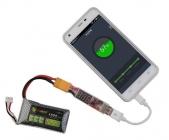 Convertisseur LiPo 2S-6S vers USB vue en situation avec un smartphone