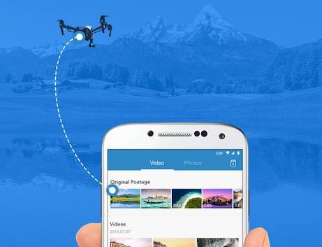 L\'application DJI GO vous permet de synchroniser facilement les données entre le drone et votre smartphone ou tablette.
