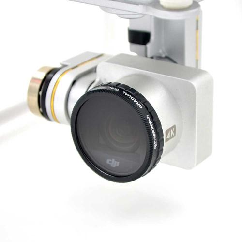 Ce filtre se monte simplement sur la caméra du Phantom 3 et Phantom 4 par simple vissage.