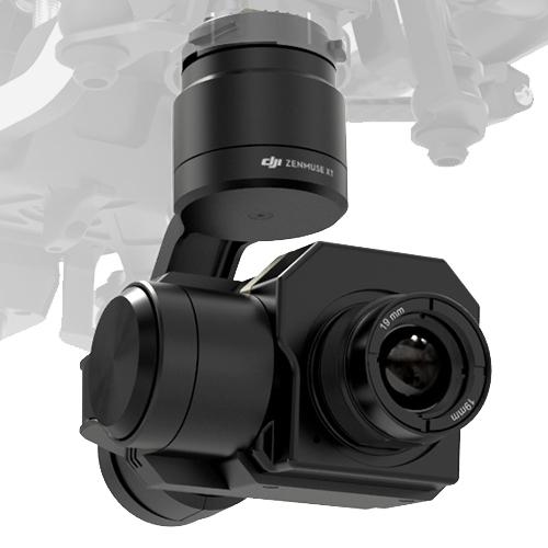 DJI Zenmuse XT FLIR R 30Hz - Radiométrique installée sur le drone Inspire 1 - vue de biais