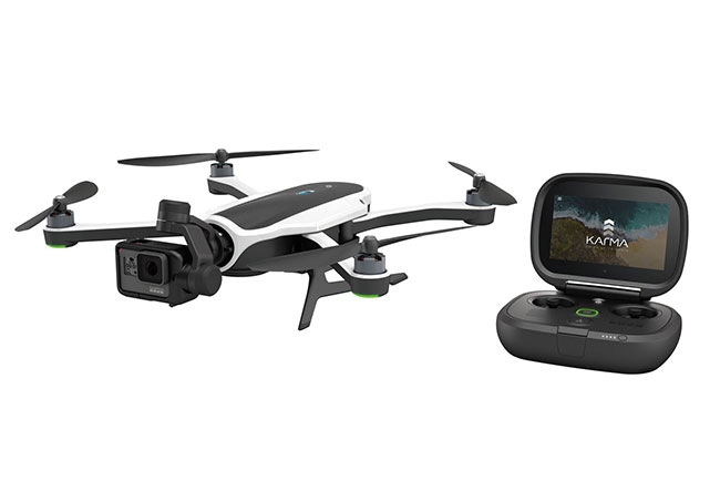 "Drone GoPro Karma avec nacelle stabilisés 3 axes et Hero 5 montée ainsi que sa radio ""Karma Controller"""
