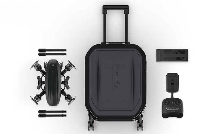 Drone PowerEye - Vue d'ensemble du contenu : valise, radio , batterie