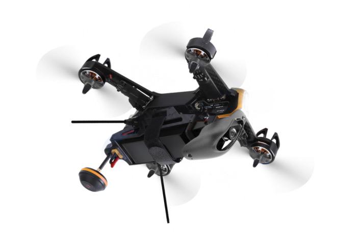 Drone racer Walkera F210 3D RTF Coque et hélices bleu, sur le dos