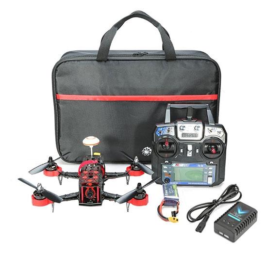 Drone racer Eachine Falcon 250 (RTF) avec radiocommande, sacoche de rangement, batterie et chargeur