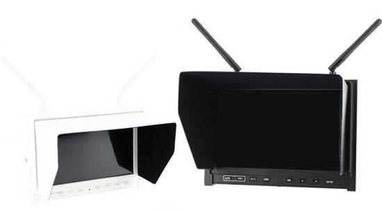 """Vue de deux écrans HD 7"""" 5,8GHz - Lilliput noir et blanc"""