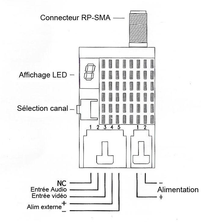 Emetteur AV 5,8ghz 200mw SGV 5v Plan de Montage pour multirotor