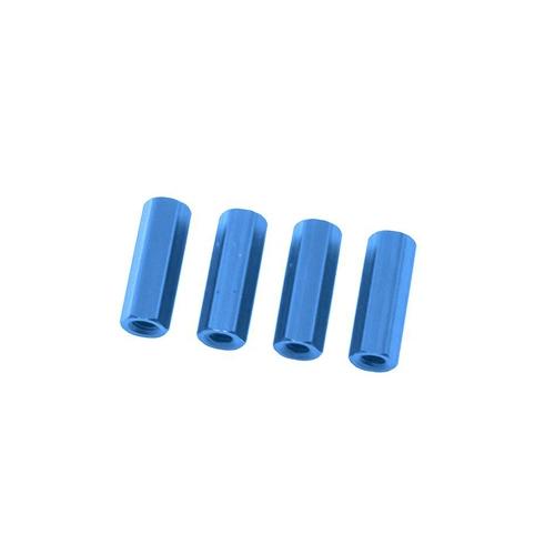 Entretoises bleues anodisées 10mm - Lot de 4
