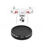 Filtre CPL/ND32 pour Phantom 3 Standard vue du drone et du filtre de face