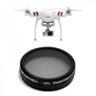 Filtre CPL pour Phantom 3 standard vue de face du drone et du filtre
