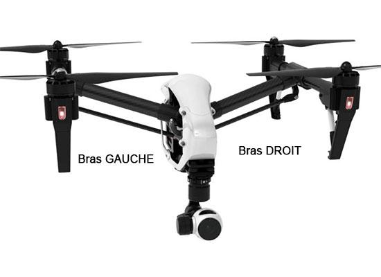 Vue de devant du drone DJI Inspire 1