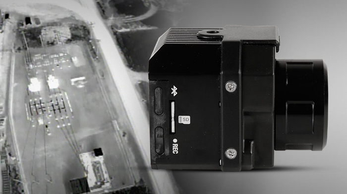 FLIR VUE PRO R vue de coté / slot carte mémoire