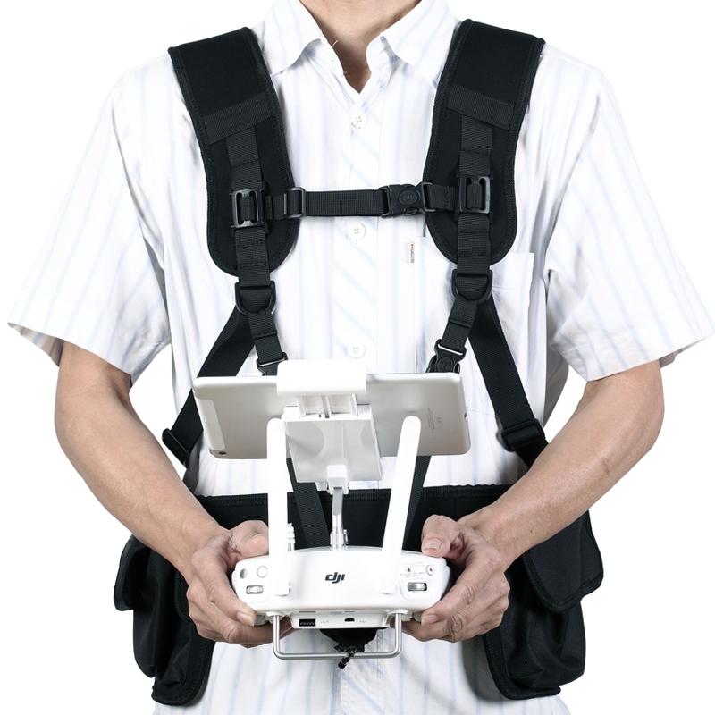 Harnais de transport + sacoche pour Phantom 4 vue de face avec radiocommande
