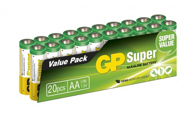 Kit de 20 piles AA alcalines Super - GP