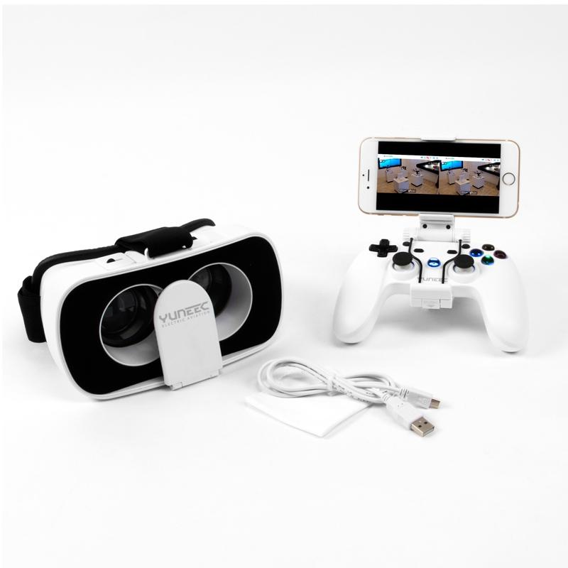 Le kit FPV pour Yuneec Breeze 4K comprend une paire de lunettes pour smartphones et une radiocommande bluetooth + le câble de charge USB pour la radiocommande