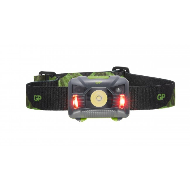 Lampe frontale GP Discovery rouge allumée
