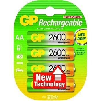 Lot de 4 accus rechargeables AA 2600 mAh GP pour pièges photographiques
