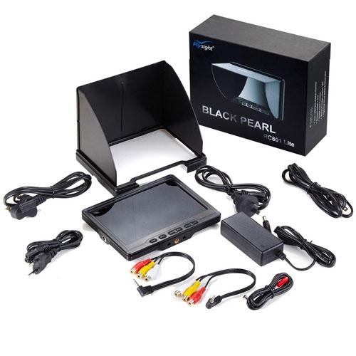 LCD 7 pouces BlackPearl Lite avec pare-soleil, câbles et bloc d\'alimentation