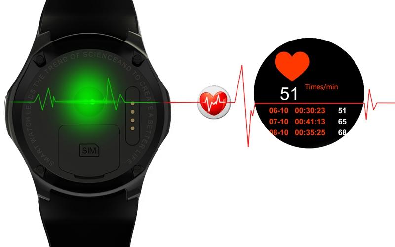 La montre connectée DM368 permet de mesurer sa fréquence cardiaque grâce au capteur prévu à cet effet