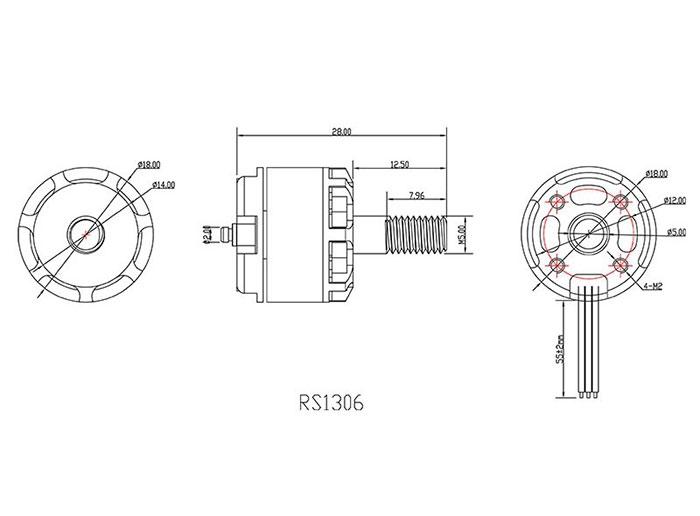 Schéma du moteur Emax RS1306 4000kv