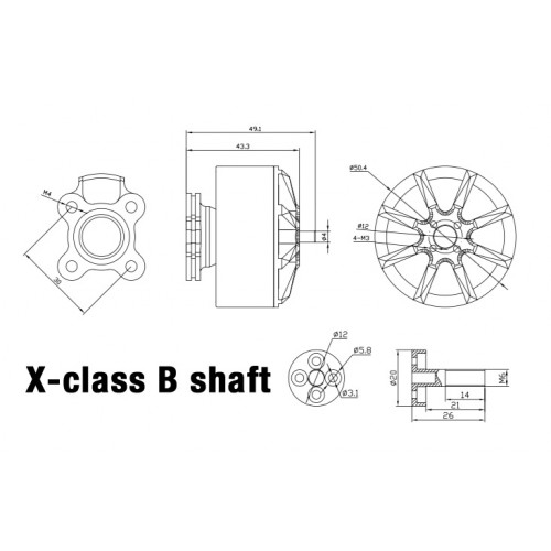 Moteur Xnova XClass 350Kv Type B Schéma