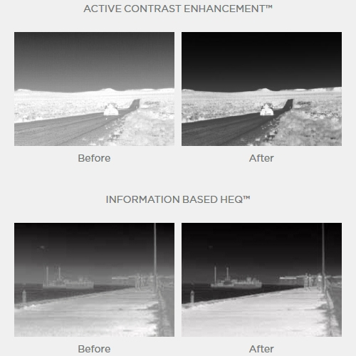 Correction logicielle FLIR : Digital Detail Enhancement™, Active Contrast Enhancement™, Smart Scene Optimization™, information Based HEQ™.