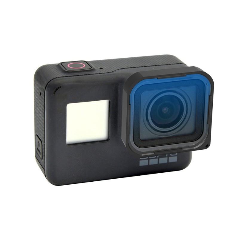 Filtre gradué bleu installé sur une GoPro Hero5 Black
