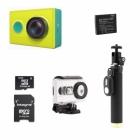 Pack complet Xiaomi Yi Cam avec : caméra, batterie, télécommande, caisson étanche et carte mémoire - version jaune