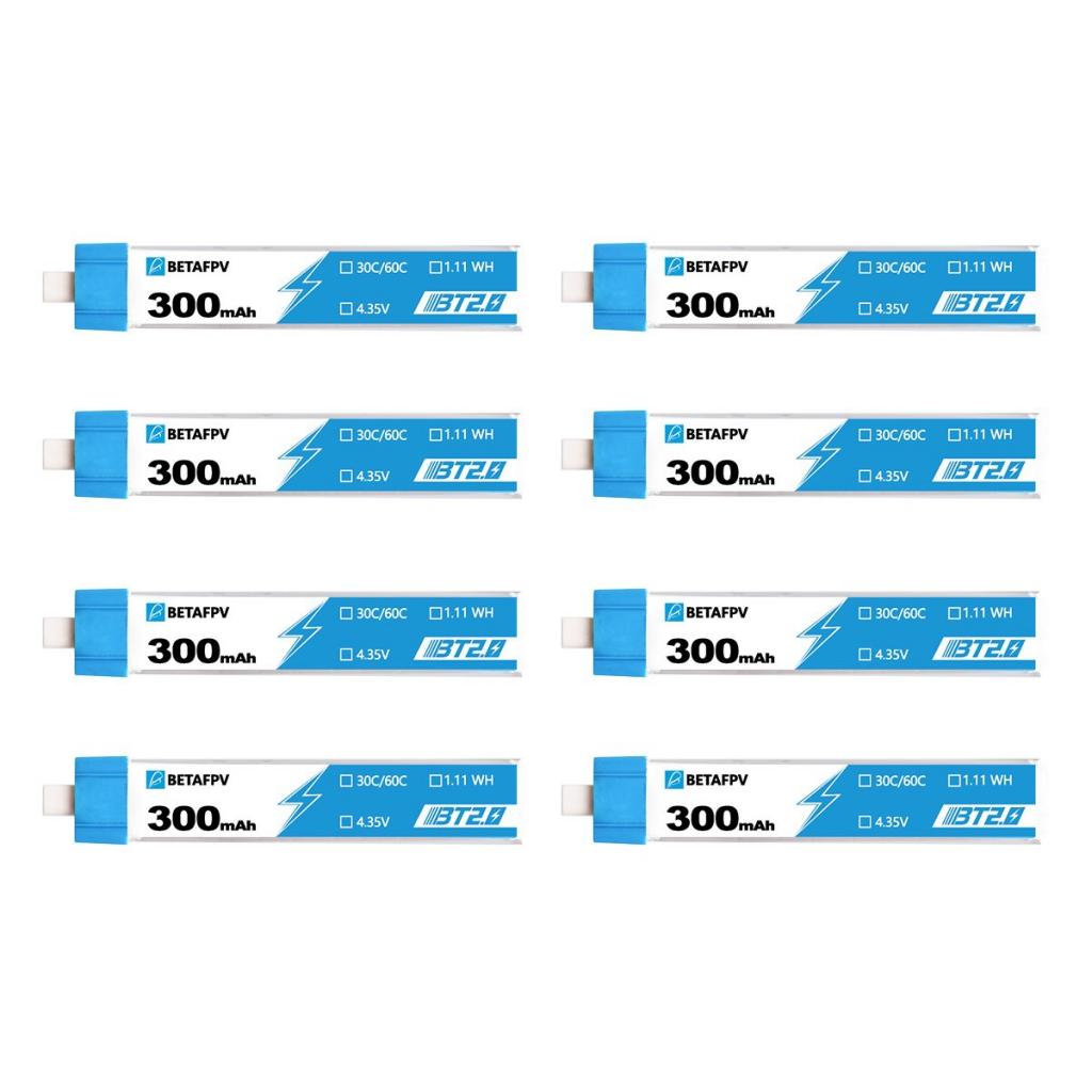 Pack de 8 batteries LiHV 1S 300 mAh 30C (BT2.0) - BetaFPV