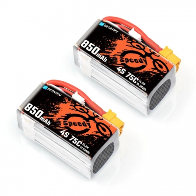 Pack de deux batteries LiPos 4S 850 mAh 75C (XT60) - BetaFPV