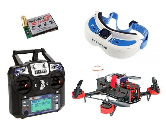 Eachine falcon 250 avec radiocommande FlySky, lunettes vidéo fatshark Dominator V3 et récepteur 5.8Ghz raceband