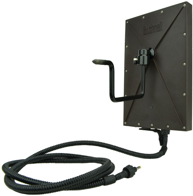Panneau Solaire Bushnell pour Caméra TrophyCam Wireless GSM GPRS vue de dos avec fixation arbre et câble d'alimentation