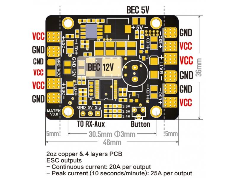 PDB Matek 5en1 V3 détails des connectiques