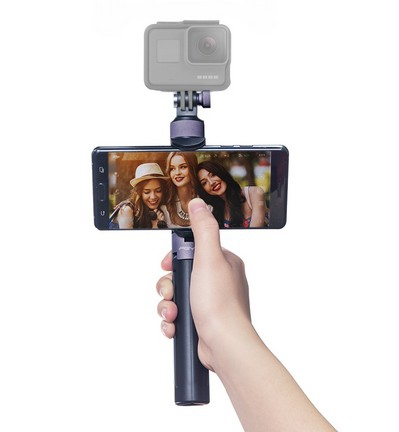 Perche et trépied PGY avec GoPro et smartphone