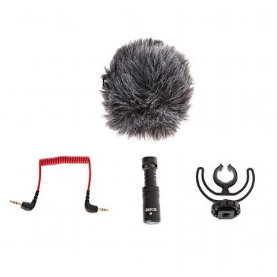 Kit complet Microphone VideoMicro avec : bonnette anti-vent, câble jack 3.5 mm, fixation Rycote Lyre